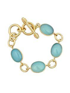 "8"" Yellow Gold Plated Blue Stones Oval Link Bracelet at Jennifer Miller"