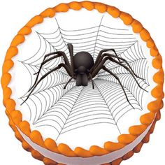 Big Spider on Web Halloween Edible Cake Topper | My Party Helpers | http://mypartyhelpers.com/products/big-spider-on-web-halloween-edible-cake-topper