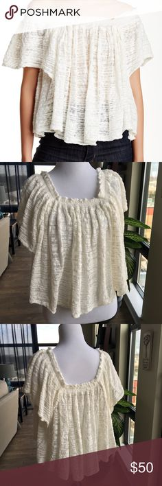 """HP 🔥🔥NWT Free People """"Thrills & Frills"""" Top NWT Free People """"Thrills & Frills"""" off the shoulder top - ivory color - can also be worn on the shoulders. This top is so freaking cute! Size Small - no stains or holes.  Details An off-shoulder design elongates your neck and torso in the see-through Thrills & Frills Sweater. - Off-the-shoulder neck - Short sleeves - Approx. 16"""" length - Imported Fiber Content 81% cotton, 19% nylon Care Dry clean or hand wash cold Additional Info Fit: this style…"""