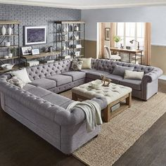 43 incredible farmhouse living room sofa design ideas and decor 39 Living Room Sectional, New Living Room, Living Room Kitchen, Home And Living, Living Room Furniture, Tufted Sectional, Small Living, Cozy Living, Extra Large Sectional Sofas