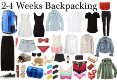The stylish backpacker (europe) by diamte featuring limedrop Note : This is not for camping, just backpacking. Packing list : 2 t shirts, 1 pair jeans, 1 pair shorts, 1 plain maxi skirt, 1 waist belt,...