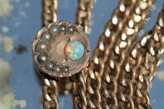 Antique Gold Filled Ladies' Watch Chain w 10K Gold Opal Seed Pearl Moon Slide | eBay