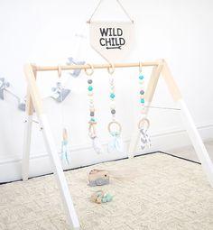 Mint Aqua marine Wood Baby Gym Toy Play Gym by styledbynaomi