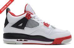 Authentic 308497-110 White/Red/Black AIR JORDAN 4 RETRO