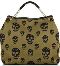 olive canvas skull tote bag handbag