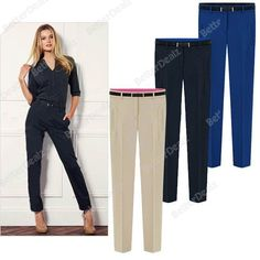 Chic Women Ladies Casual OL Slim Skinny Long Trousers Pencil Pants With Belt