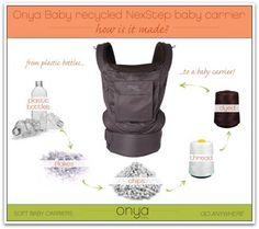 The Onya Baby Nexstep is an ergonomic baby carrier made from recycled fabric! Easy on your baby, your back and the planet.