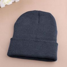 Hot Selling Unisex Women Men Winter Hat Snap Back Muts Knit Hip Hop Beanie  Warm Cap Bonnet femme Solid Color Cheap Z1 048cb734a65