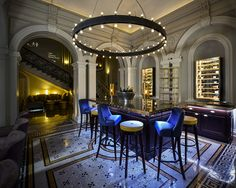 1901 Restaurant and Wine Lounge at Andaz Hotel Liverpool Street - more than 2m in diameter and almost 3m drop this oversized chandelier is a classic design with an industrial twist. Interior design: ara International