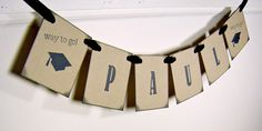 Graduation banner personalized grad garland cap tassel (for names up to 6 letters) - Made to order