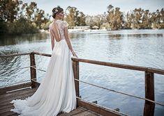 Stylish open back wedding dress