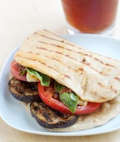 Grilled Eggplant and Whole Wheat Flatbread Sandwich