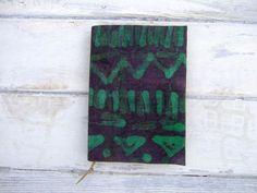 Handmade batik journal notebook antique paper green by Patiak, $24.00