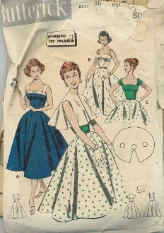 An original ca. 1950's Butterick Pattern 8149.  Camisole sun dress with several variations.  Over it… the cape influenced jacket…that's sleeveless and collarless.  (A)  Contrast straps, bodice band 'n bow.  (B)  Shoestring straps, no band.  (C)  Contrast bodice and wide straps crushed to form sleeves.
