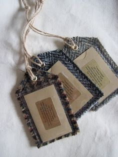 Tweed thoughts ...: Tutorial - make a Fabric Luggage Label