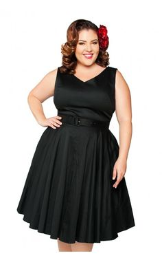 Pinup couture - havana nights dress in black sateen - plus size pinup girl Vintage Inspired Outfits, Vintage Style Dresses, Havana Nights Dress, Plus Size Dresses, Plus Size Outfits, Pinup Girl Clothing, Pinup Couture, Plus Size Vintage, Retro Dress