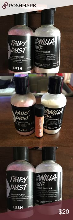 Bundle of (3) LUSH Products!!! Includes vanilla dusting powder, fairy dust shimmery body powder and lip balm. The lip balm and fairy dust are new and the dusting powder was tested. The lip balm & body powder were purchased at a LUSH store in Vienna, Austria so some of the writing is in German. Lush Makeup