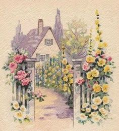 Cottage and garden illustration Storybook Cottage, Cottage Art, Vintage Greeting Cards, Vintage Postcards, Vintage Pictures, Vintage Images, Vintage Diy, Arte Popular, Vintage Flowers