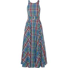 Gül Hürgel Belted checked cotton and linen-blend midi dress (10.768.930 IDR) ❤ liked on Polyvore featuring dresses, vestidos, belted dress, checkered dress, blue midi dress, multi color dress and colorful midi dresses