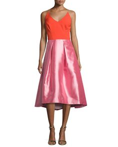 e3ce7e21fc8 Phoebe Couture Colorblock V-Neck Fit- -Flare Dress