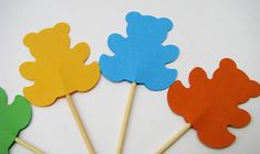 10 teddy bears cake toppers colours Party picks Kids