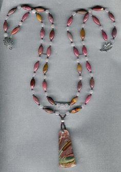 Aurora Borealis  Polychrome Jasper Mookaite Rhodonite Rose