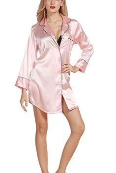 Amazon.com: 4Ping Ladies Long Sleeve Home Service Long Sleeves Silk Robe Black M: Clothing