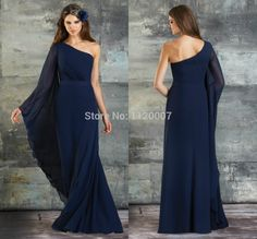 One Shoulder Long Sleeve Dress plus size | Modest-Bridesmaid-Dresses-with-Sleeves-Navy-Blue-One-Shoulder-Elegant ...