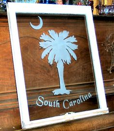 Old window, South Carolina Palmetto tree (sold)