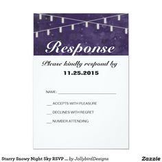 Starry Snowy Night Sky RSVP Card design with theme Response Cards, No Response, Wedding Rsvp, Wedding Invitations, Abstract Watercolor, Night Skies, Names, Cards Against Humanity, Sky