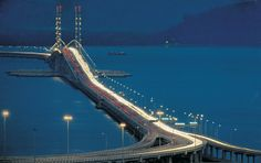 Penang Bridge, Malaysia, ran across this and back -- can NOT say I loved that part of being there....