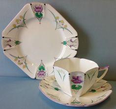Shelley Queen Anne Shape Pansies Pattern Tea Cup Trio A/F.