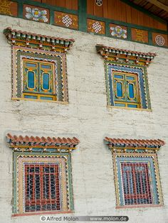 Tibetan windows All windows of houses in the Zhongdian valley are beautifully decorated