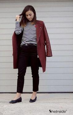 Wine Red Lapel Long Sleeve Zipper Pockets Coat - Sheinside.com