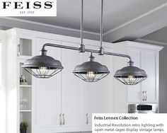 Murray Feiss Lennex Collection  Murray Feiss F3158/3SGM 3-Light Island Pendant from the Industrial Revolution Lennex Collection