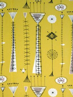 'Kite Strings' by British textile designer David Parsons for Heal's. via Age of Consent mid-century modern textiles, atomic age Motifs Textiles, Textile Patterns, Textile Design, Fabric Design, Print Patterns, Lucienne Day, Mid Century Art, Mid Century Style, Mid Century Modern Design