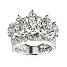 Every Queen must have a crown [detailed design silver and diamond Crown ring] Bling Bling, The Bling Ring, Diamond Crown Ring, Diamond Engagement Rings, Crown Rings, Tiara Ring, Halo Rings, Jewelry Rings, Jewelry Accessories