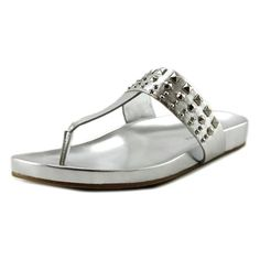 Marc Fisher Womens Samba Silver Leather Flip Flop Sandals