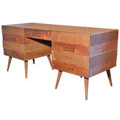 Mid Century Retro Vintage Ernst Schwadron Vanity Dresser Desk Kagan Workshop 1950 | Pinned by 360 Modern Furniture