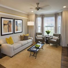 Gray Contemporary Living Room Best 15 Gray and Yellow Living Room Design Ideas S Bay Window Living Room, Narrow Living Room, Formal Living Rooms, Living Room Grey, Home Living Room, Apartment Living, Living Room Designs, Bay Window Decor, Living Room With Chairs