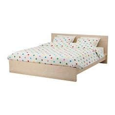 "MALM bed frame, birch veneer Length: 83 7/8 "" Width: 66 1/2 "" Footboard height: 11 3/4 "" Length: 213 cm Width: 169 cm Footboard height: 30 cm"