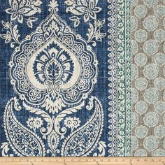 Screen printed on cotton, this medium weight fabric has a distressed appearance and is perfect for window treatments (draperies, valances, curtains and swags), accent pillows, upholstering furniture, headboards, ottomans and poufs. Colors include ivory, jade, aqua, grey and indigo blue.