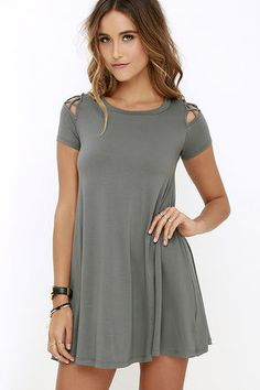 Take Effect Grey Swing Dress at Lulus.com!