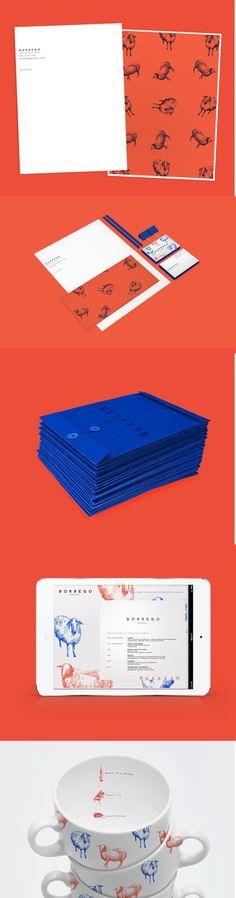 borrego / branding / animals / vintage prints / orange / bright blue