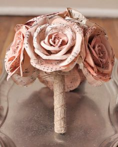 Blush Bridal Bouquet - Pink Sheet Music Paper Roses, Rustic Wedding Flowers with Twine Handle. $157.00, via Etsy.