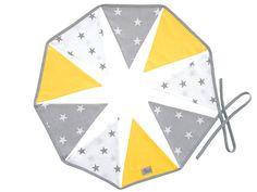 Girlanda - Żółto szara Teepee Tent, Hand Sewn, Triangles, Yellow, Dekoration, Kids