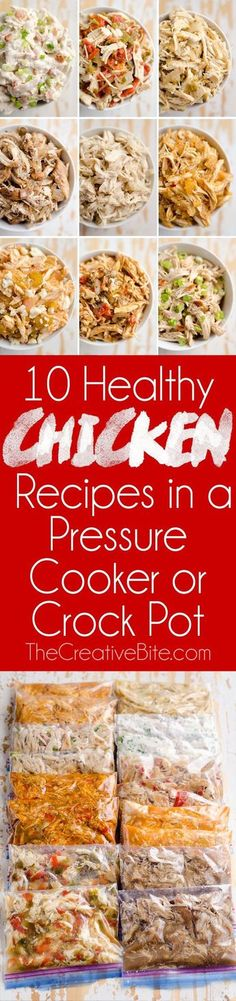 Try these 10 Healthy Chicken Recipes in a Pressure Cooker or Crock Pot for juicy shredded chicken with a variety of bold flavors! These freezer friendly Instant Pot chicken recipes are great for healthy meal prepping. (healthy meals for dinner chicken) Slow Cooker Huhn, Crock Pot Slow Cooker, Crock Pot Cooking, Slow Cooker Recipes, Cooking Recipes, Crock Pots, Crockpot Recipes, Budget Recipes, Healthy Pressure Cooker Recipes