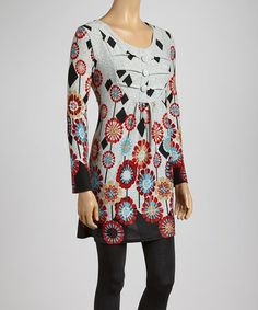 Take a look at this Gray & Red Floral Empire-Waist Tunic by Individual Style: Women's Separates on @zulily today!