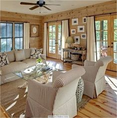 natural stained pine walls & floors with cream fabrics / Tracery Interiors Eclectic Living Room, Home Living Room, Living Room Designs, Living Room Decor, Knotty Pine Walls, Knotty Pine Living Room, Knotty Pine Decor, Cedar Walls, Wood Walls