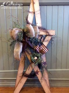"""May 17th, 18th or 20th """"BARN BRIDGE"""" STAR Sharon Culver The salvaged wood that makes up this 38"""" tall folkart star comes from the barn bridge that was my great grandparents' barn on the farm now owned by my father. My carpenter husband will make the star for us to decorate in a great patriotic display! (cost $45+tax)"""